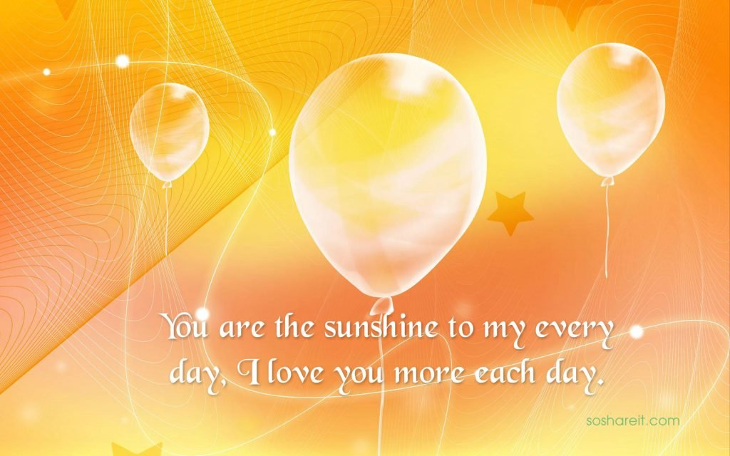 You are the sunshine to my every day, I love you more each day.