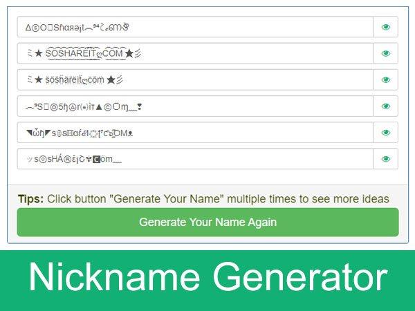 Nicknames generator Game